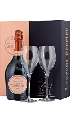 Laurent-Perrier Rosé Champagne & 2x Champagne Glasses